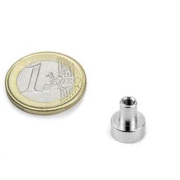 TCN-10, Aimant en pot avec manchon taraudé, Ø 10 mm, pas de vis M3