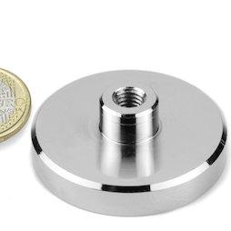 TCN-50, Magnete con base in acciaio con boccola filettata Ø 50 mm, filettatura M8