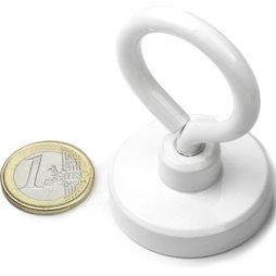 OTNW-40, Potmagneet met oogmoer wit, Ø 40,3 mm, met witte poedercoating, schroefdraad M6