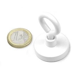 OTNW-32, Pot magnet with eyelet white Ø 32,3 mm, powder-coated, thread M5