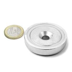 CSN-48, Topfmagnet mit Senkbohrung Ø 48 mm, Haftkraft ca. 87 kg
