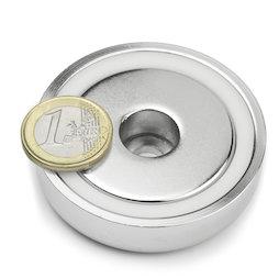 ZTN-60, Magnete con base in acciaio con foro cilindrico, Ø 60 mm