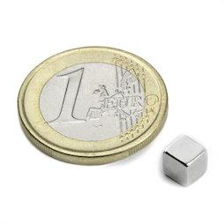 W-05-N50-N, Cube magnétique 5 mm, néodyme, N50, nickelé