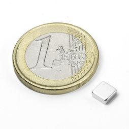 Q-05-05-02-N, Block magnet 5 x 5 x 2 mm, neodymium, N45, nickel-plated
