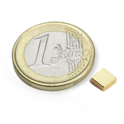 Q-05-05-02-G, Block magnet 5 x 5 x 2 mm, neodymium, N45, gold-plated