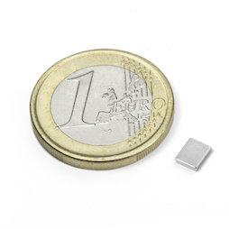Q-05-04-01-N, Bloque magnético 5 x 4 x 1 mm, neodimio, N50, niquelado