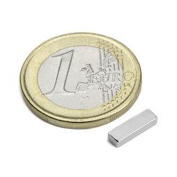 Q-10-03-02-HN, Quadermagnet 10 x 3 x 2 mm, Neodym, 44H, vernickelt