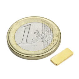 Q-10-04-01-G, Block magnet 10 x 4 x 1 mm, neodymium, N50, gold-plated