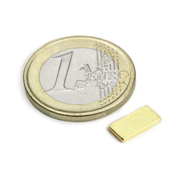 Q-10-05-1.2-G, Block magnet 10 x 5 x 1,2 mm, neodymium, N50, gold-plated