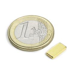 Q-10-05-1.5-G, Parallelepipedo magnetico 10 x 5 x 1,5 mm, neodimio, N50, dorato