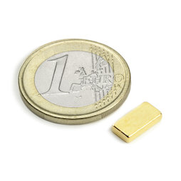 Q-10-05-02-G, Block magnet 10 x 5 x 2 mm, neodymium, N50, gold-plated
