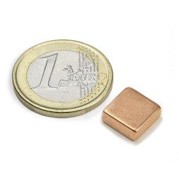 Q-10-10-04-K, Block magnet 10 x 10 x 4 mm, neodymium, N40, copper-plated