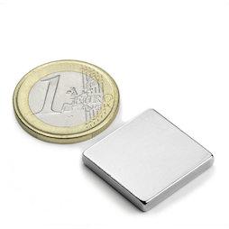 Q-20-20-03-N, Block magnet 20 x 20 x 3 mm, neodymium, N45, nickel-plated