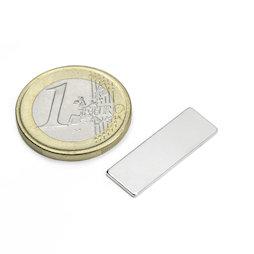 Q-25-08-01-N, Quadermagnet 25 x 8 x 1 mm, Neodym, N48, vernickelt