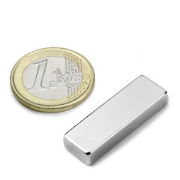 Q-30-10-05-N, Block magnet 30 x 10 x 5 mm, neodymium, N42, nickel-plated