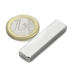 Q-40-10-05-N, Block magnet 40 x 10 x 5 mm, neodymium, N42, nickel-plated