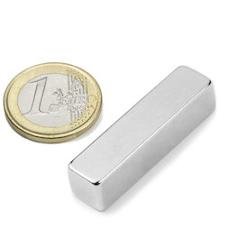Q-40-10-10-N, Quadermagnet 40 x 10 x 10 mm, Neodym, N42, vernickelt