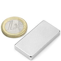Q-40-20-05-N, Block magnet 40 x 20 x 5 mm, neodymium, N42, nickel-plated