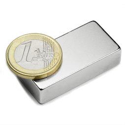 Q-40-20-10-N, Bloque magnético 40 x 20 x 10 mm, neodimio, N42, niquelado
