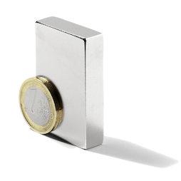 Q-50-25-10-LN, Bloque magnético 50 x 25 x 10 mm, neodimio, N40, niquelado