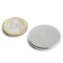S-30-03-N, Disc magnet Ø 30 mm, height 3 mm, neodymium, N45, nickel-plated