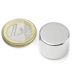 S-20-15-N, Disc magnet Ø 20 mm, height 15 mm, neodymium, N42, nickel-plated