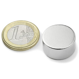 S-20-10-N, Disco magnético Ø 20 mm, alto 10 mm, neodimio, N42, niquelado