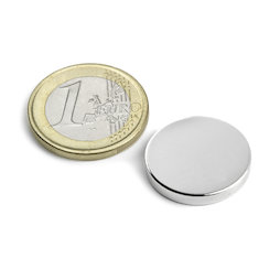 S-20-03-N, Disc magnet Ø 20 mm, height 3 mm, neodymium, N45, nickel-plated