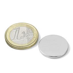 S-20-02-N, Disco magnético Ø 20 mm, alto 2 mm, neodimio, N45, niquelado