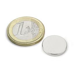 S-15-02-N, Disco magnético Ø 15 mm, alto 2 mm, neodimio, N40, niquelado