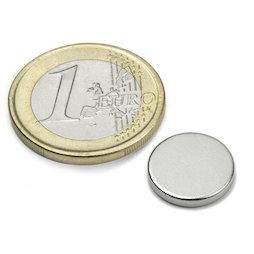 S-13-02-N, Scheibenmagnet Ø 13 mm, Höhe 2 mm, Neodym, N45, vernickelt