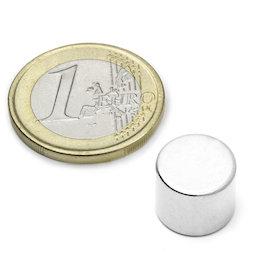 S-12-10-N, Disc magnet Ø 12 mm, height 10 mm, neodymium, N45, nickel-plated