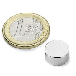 S-12-06-DN, Scheibenmagnet Ø 12 mm, Höhe 6 mm, Neodym, N42, vernickelt, diametral magnetisiert