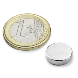 S-12-04-N, Disc magnet Ø 12 mm, height 4 mm, neodymium, N45, nickel-plated