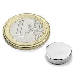 S-12-04-N, Disque magnétique Ø 12 mm, hauteur 4 mm, néodyme, N45, nickelé