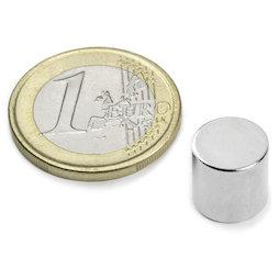 S-10-10-N, Disc magnet Ø 10 mm, height 10 mm, neodymium, N45, nickel-plated