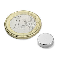 S-10-2.5-N, Disco magnetico Ø 10 mm, altezza 2,5 mm, neodimio, N42, nichelato