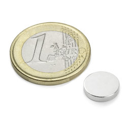 S-10-02-N, Disc magnet Ø 10 mm, height 2 mm, neodymium, N42, nickel-plated