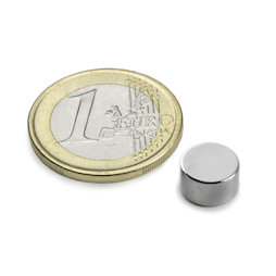 S-09-05-N, Disc magnet Ø 9 mm, height 5 mm, neodymium, N50, nickel-plated