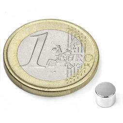 S-05-04-N, Disque magnétique Ø 5 mm, hauteur 4 mm, néodyme, N45, nickelé
