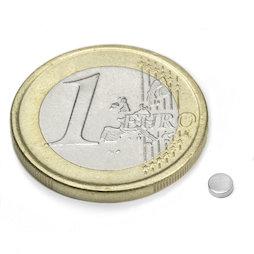 S-03-01-N, Disc magnet Ø 3 mm, height 1 mm, neodymium, N48, nickel-plated