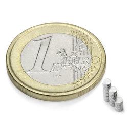 S-02-01-N, Scheibenmagnet Ø 2 mm, Höhe 1 mm, Neodym, N48, vernickelt