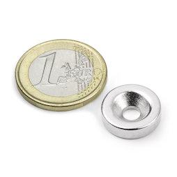 CS-S-15-04-N, Disco magnético Ø 15 mm, 4 mm de alto, con taladro avellanado, N35, niquelado