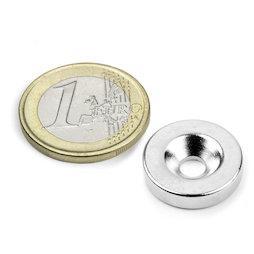 CS-S-18-04-N, Disco magnético Ø 18 mm, 4 mm de alto, con taladro avellanado, N35, niquelado