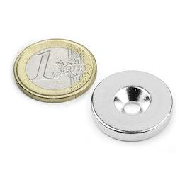 CS-S-23-04-N, Disque magnétique Ø 23 mm, hauteur 4 mm, avec trou de fixation biseauté, N35, nickelé