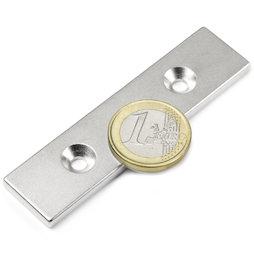 CS-Q-80-20-04-N, Bloque magnético 80 x 20 x 4 mm, con taladro avellanado, N35, niquelado
