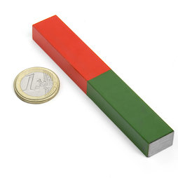 EDU-8, Bar magnet rectangular long, 100 x 15 mm, AlNiCo5, red-green coated