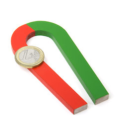 EDU-6, Horseshoe magnet tapered, 100 x 48 mm, AlNiCo5, red-green coated