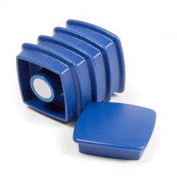 BX-SQ30/blue, Boston Xtra vierkant, set met 5 kantoormagneten neodymium, vierkant, blauw