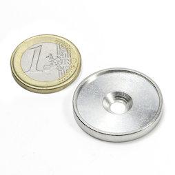 MSD-26, Metallscheibe mit Rand und Senkbohrung M4, Innendurchmesser 26 mm, als Gegenstück zu Magneten, kein Magnet!